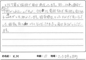 さいたま市北区土呂町 25歳 K.Mさん